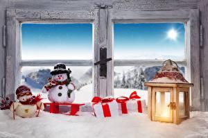 Bilder Neujahr Fenster Laterne Schneemänner