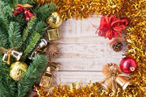 Hintergrundbilder Neujahr Bretter Ast Kugeln Zapfen Glocke