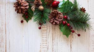 Fotos Neujahr Bretter Ast Zapfen