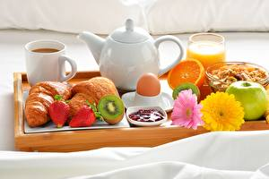 Pictures Coffee Croissant Fruit Breakfast Tray Food