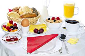 Bilder Kaffee Saft Müsli Brot Frühstück Ei Tasse Teller