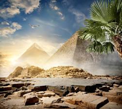 Fotos Ägypten Wüste Steine Himmel Pyramide bauwerk Cairo Natur