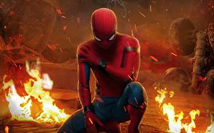 Desktop wallpapers Flame Spiderman hero Spider-Man: Homecoming Movies