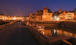 Wallpapers France Houses Bridges Berth Night Fence Street lights Honfleur Cities