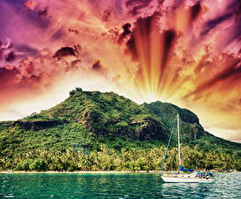 Wallpaper French Polynesia Tropics Mountain River Sailing Sky Yacht Clouds Nature