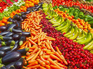 Bilder Obst Gemüse Viel Mohrrübe Bananen Kirsche Aubergine Lebensmittel