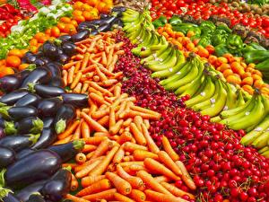 Bilder Obst Gemüse Viel Mohrrübe Bananen Kirsche Aubergine