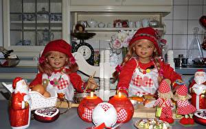 Wallpaper Holidays New year Candles Sweets Doll Little girls 2 Santa Claus Hat Grugapark Essen Children