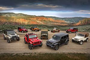 Wallpaper Jeep Many Cars