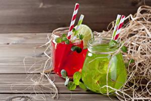 Fotos Fruchtsaft Bretter Trinkglas Weckglas 2 Stroh Lebensmittel