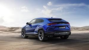 Photo Lamborghini Blue Back view Urus 2018 Off Road
