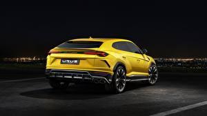 Image Lamborghini Yellow Back view Urus 2018 Cars