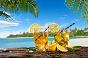 Pictures Lemons Lemonade Drinks Highball glass Two