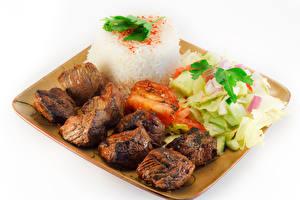 Papel de Parede Desktop Produtos de carne Hortaliça Chachlik Arroz Fundo branco Alimentos