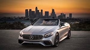 Wallpaper Mercedes-Benz Silver color Cabriolet S63 4MATIC 2018 AMG automobile
