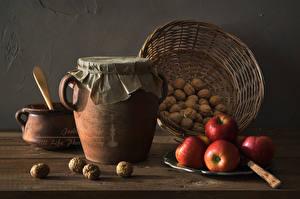 Hintergrundbilder Schalenobst Äpfel Weidenkorb Einweckglas Lebensmittel