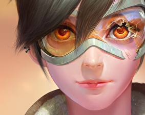 Picture Overwatch Face Glasses Staring Tracer Games Girls Fantasy