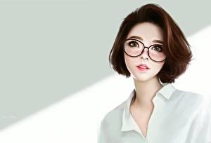 Hintergrundbilder Gezeichnet Braunhaarige Brille Süße Ayya SAP Mädchens