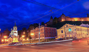 Hintergrundbilder Russland Gebäude Tempel Denkmal Stadtstraße Nacht Straßenlaterne Nizhny Novgorod