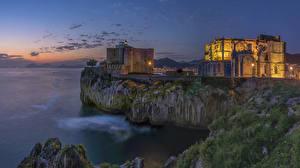 Pictures Spain Castles Evening Crag Castro Urdiales Cantabria Cities