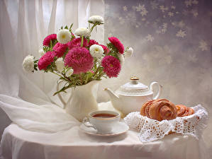 Pictures Still-life Asters Tea Kettle Vase Cup Food Flowers