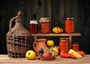 Bilder Stillleben Wein Obst Peperone Kanne Einweckglas Lebensmittel