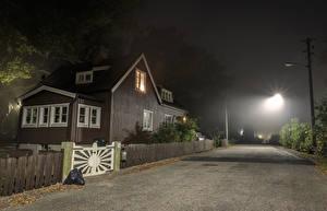 Bilder Schweden Stockholm Haus Straße Straße Nacht Straßenlaterne Zaun Städte