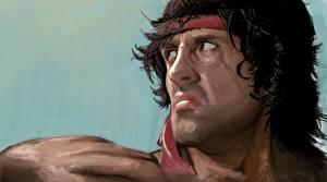 Papel de Parede Desktop Sylvester Stallone Desenhado Face Franzindo a testa Rambo Filme