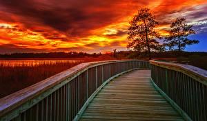 Fotos USA Brücken Sonnenaufgänge und Sonnenuntergänge Himmel Zaun Virginia Natur