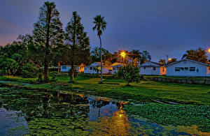 Bilder Vereinigte Staaten Gebäude Teich Abend Florida Bäume Natur