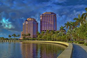 Fotos Vereinigte Staaten Gebäude Himmel Florida Palmengewächse Bucht West Palm Beach Städte