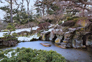 Hintergrundbilder USA Parks Bach Schnee Brooklyn Botanic Garden Natur