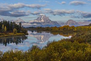 Fotos Vereinigte Staaten Landschaftsfotografie Park Flusse Gebirge Herbst Strauch Snake River Grand Teton National Park Wyoming Natur