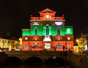 Images United Kingdom Houses Bridges Night Street lights Newry Town Hall Cities