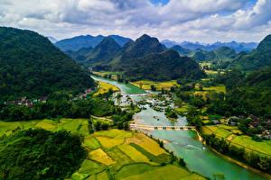 Hintergrundbilder Vietnam Landschaftsfotografie Berg Fluss Felder Cao Bang Natur