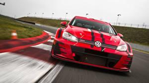 Bakgrundsbilder på skrivbordet Volkswagen Framifrån Röd GTI 2018 Golf TCR Bilar