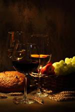 Hintergrundbilder Wein Brot Obst Farbigen hintergrund Weinglas Drei 3 Ähre