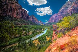 Hintergrundbilder Zion-Nationalpark USA Park Gebirge Flusse Bäume Wolke