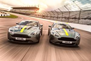 Picture Aston Martin Two Front Moving 2017 Vantage AMR automobile