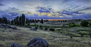Hintergrundbilder Australien Landschaftsfotografie Park Steine Abend HDRI Gras Wolke Snowy River National Park Natur