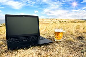 壁纸,,啤酒,田地,筆記型電腦,馬克杯,