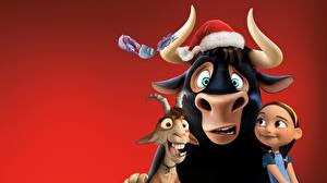 Photo Bulls Horns Red background Ferdinand Cartoons Animals