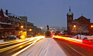 Images Canada Building Roads Evening Winter Monuments Quebec Street Street lights Motion Sherbrooke Cities