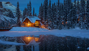 Wallpapers Canada Parks Houses Evening Lake Spruce Snow Reflected Yoho National Park Nature