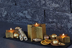 Pictures New year Candles Balls Gold color