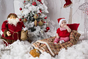 Picture New year Christmas tree Santa Claus Baby Winter hat Sitting child