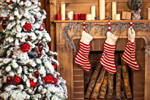 Images Christmas New Year tree Socks Fireplace