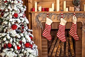 Bilder Neujahr Weihnachtsbaum Socken Cheminée