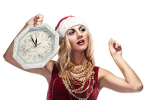 Pictures Christmas Clock Jewelry Necklace White background Blonde girl Hands Girls