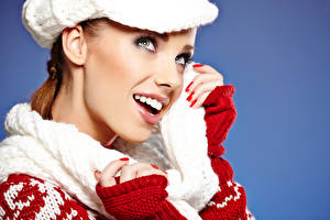 Image New year Colored background Face Teeth Glance Girls